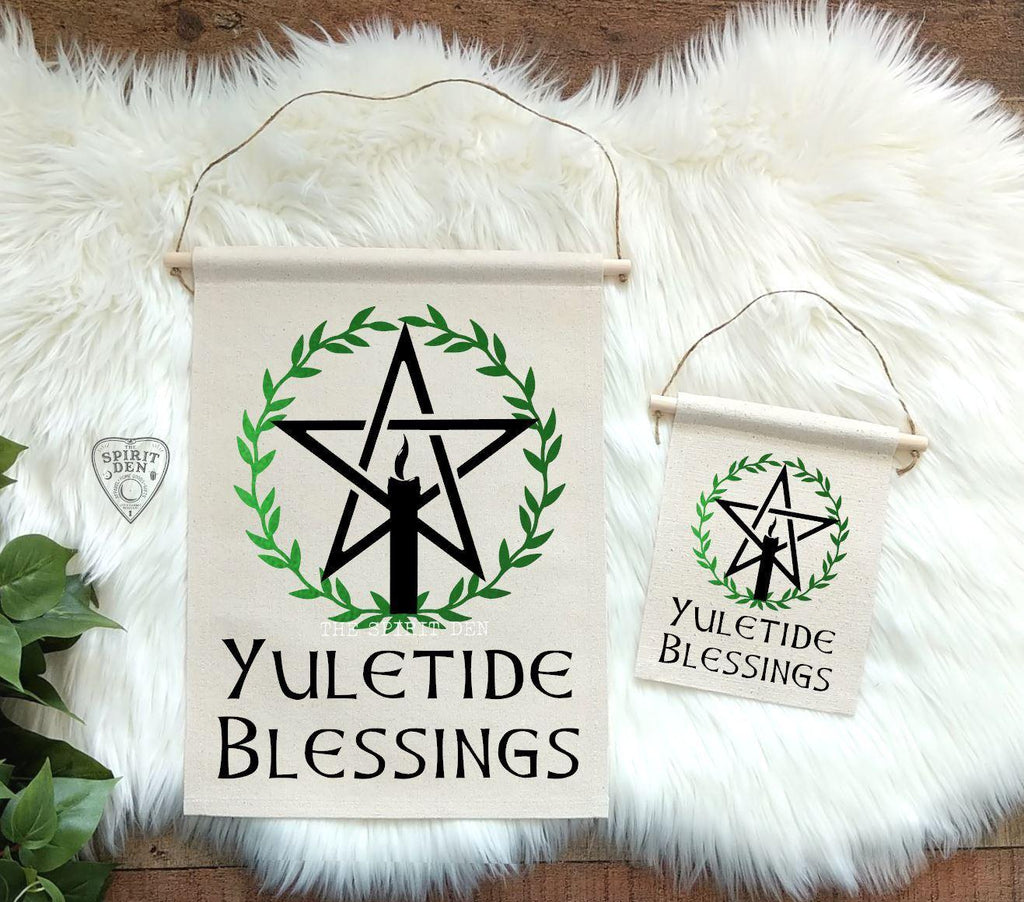 Yuletide Blessings Wreath Cotton Canvas Wall Banner