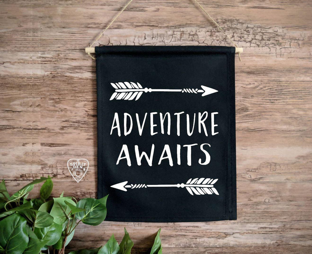 Adventure Awaits Arrows Black Canvas Wall Banner