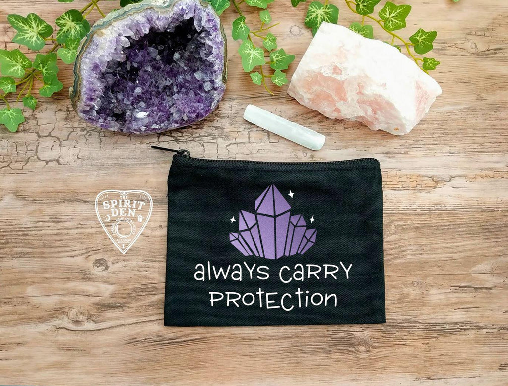 Always Carry Protection Crystals Black Zipper Bag