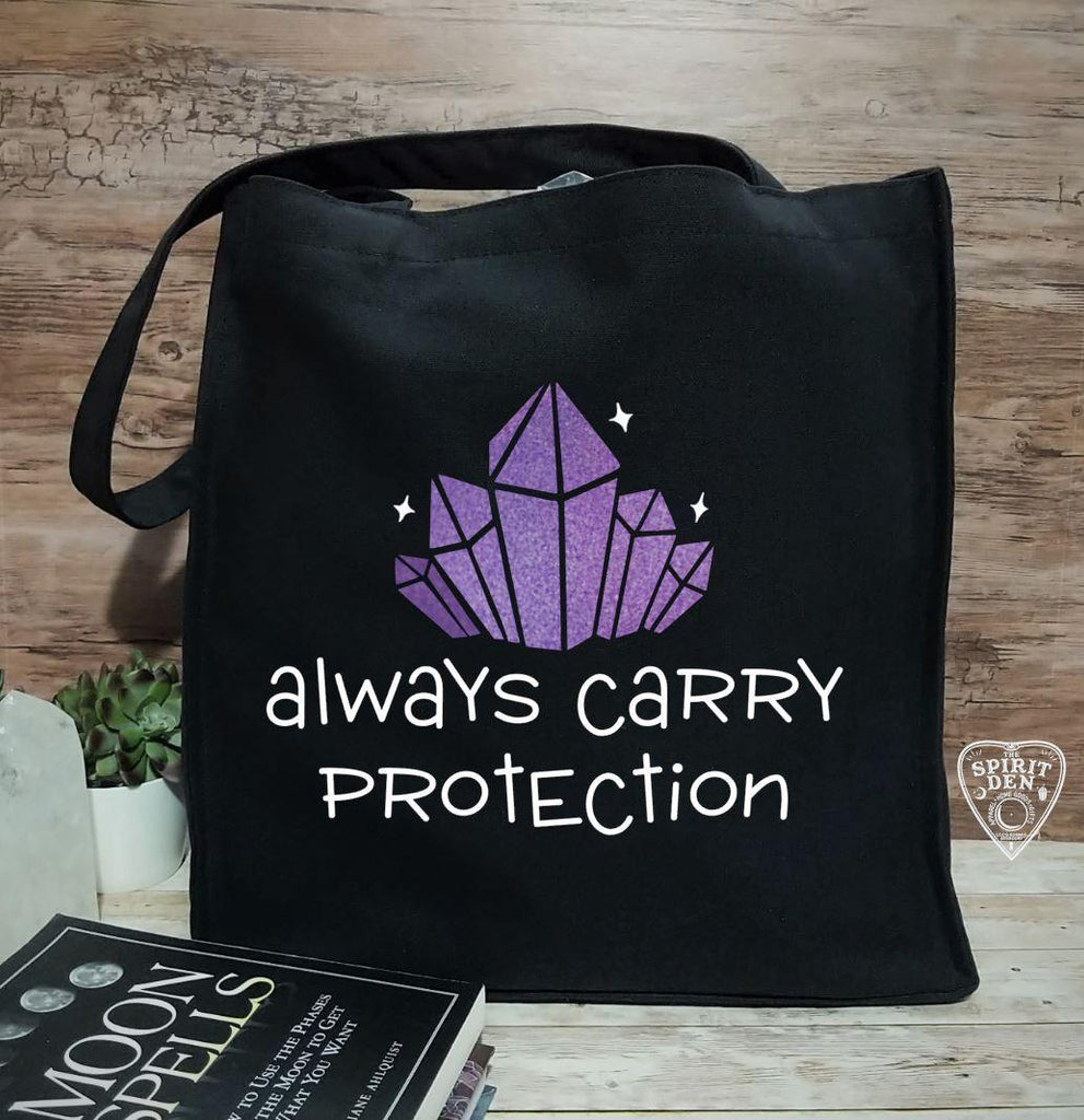 Always Carry Protection Crystals Black Canvas Market Tote Bag - The Spirit Den