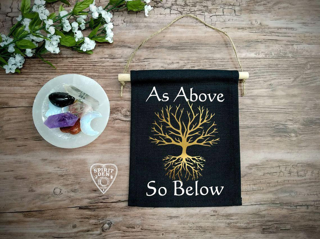 As Above So Below Tree Of Life Black Canvas Banner