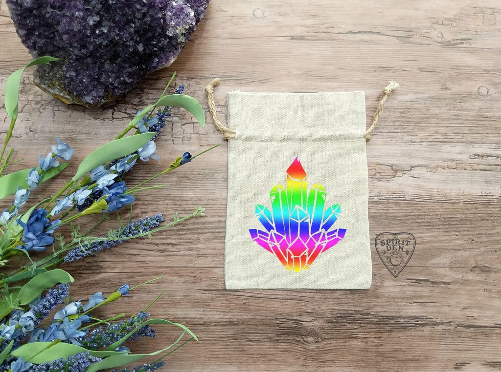 Rainbow Aura Crystal Cluster Cotton Linen Drawstring Bag