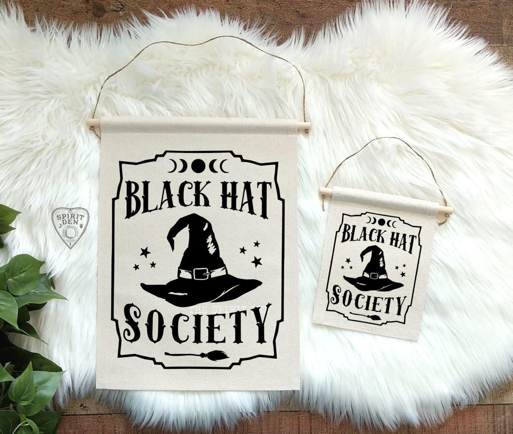 Black Hat Society Witch Hat Cotton Canvas Wall Banner
