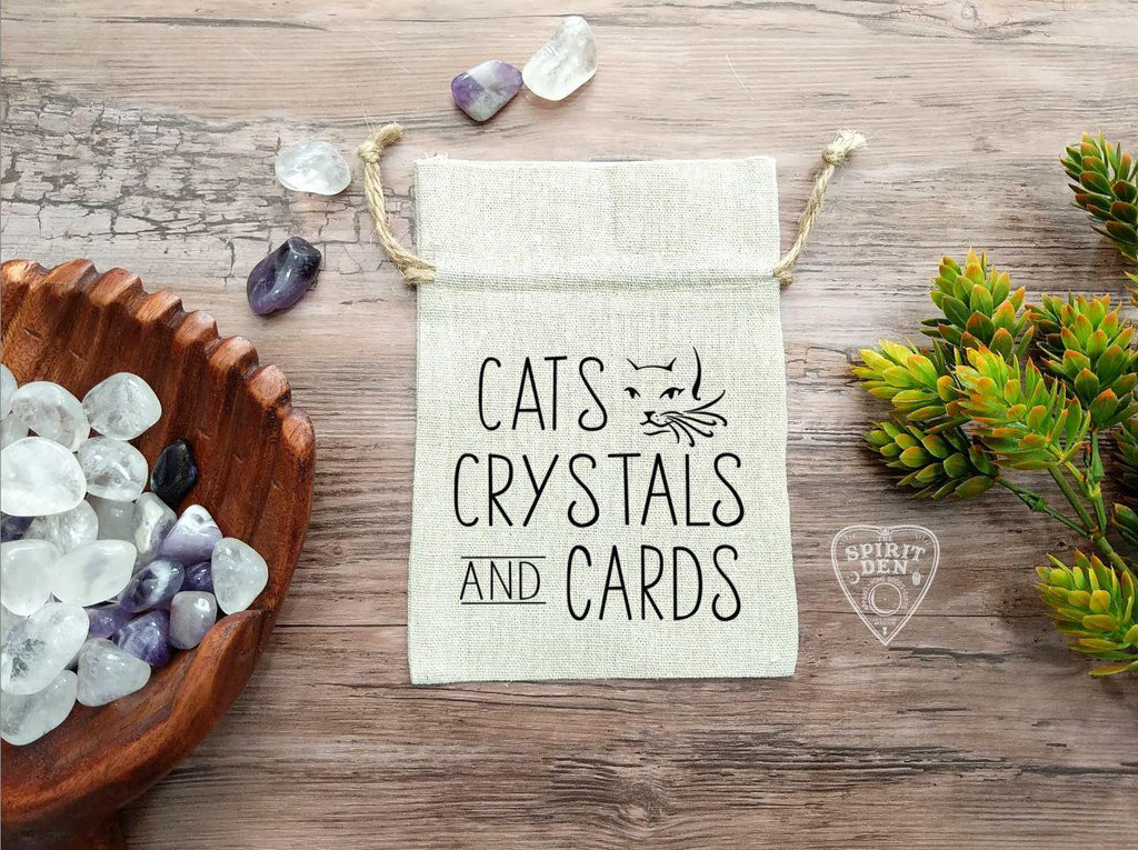 Cats Crystals and Cards Drawstring Cotton Linen Bag