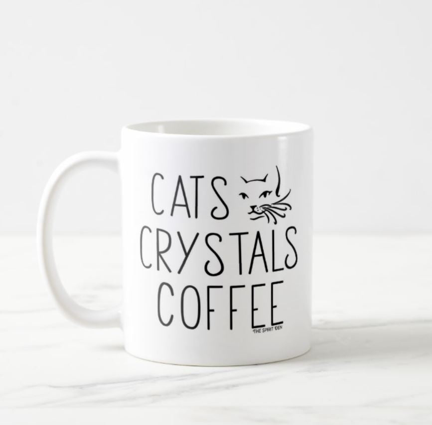 Cats Crystals Coffee White Mug