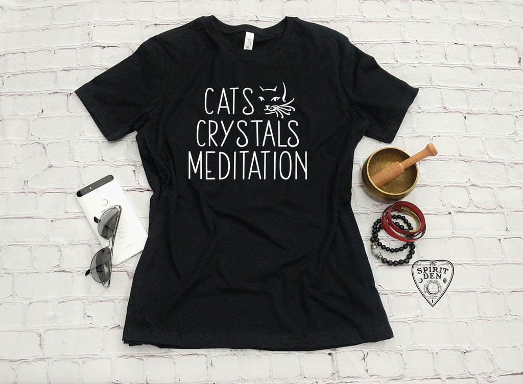 Cats Crystals Meditation T-Shirt