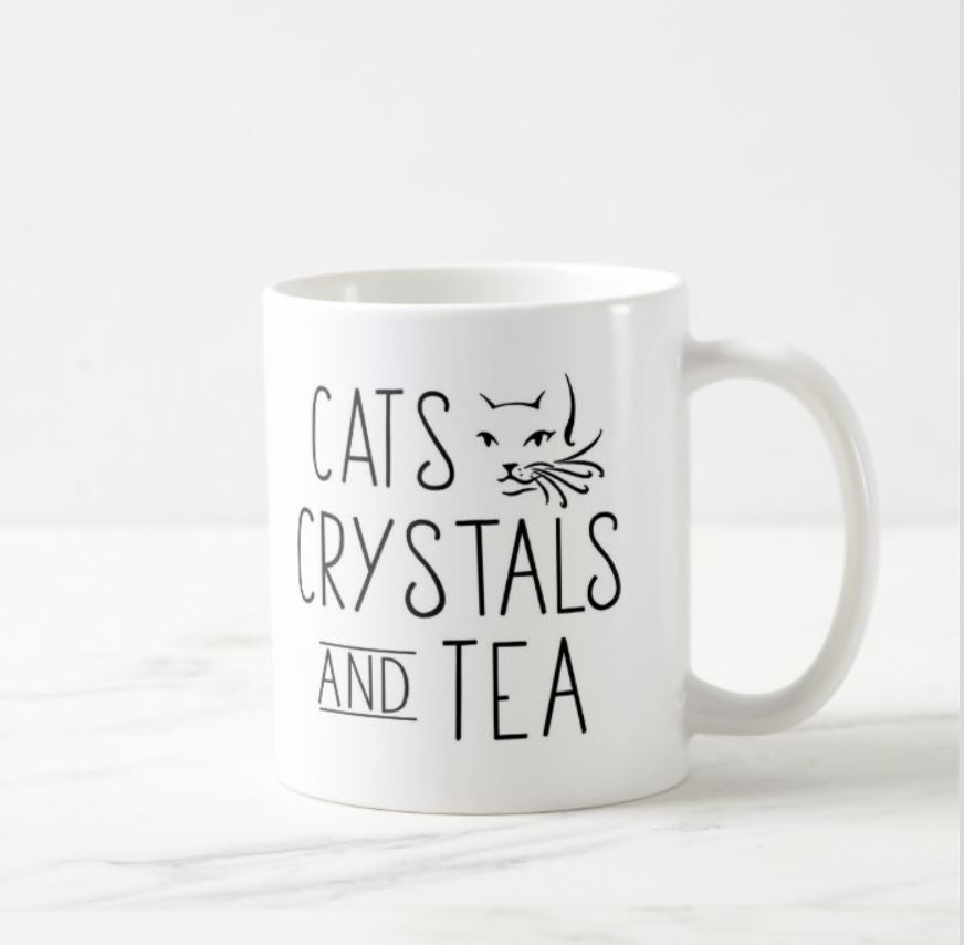 Cats Crystals and Tea White Mug