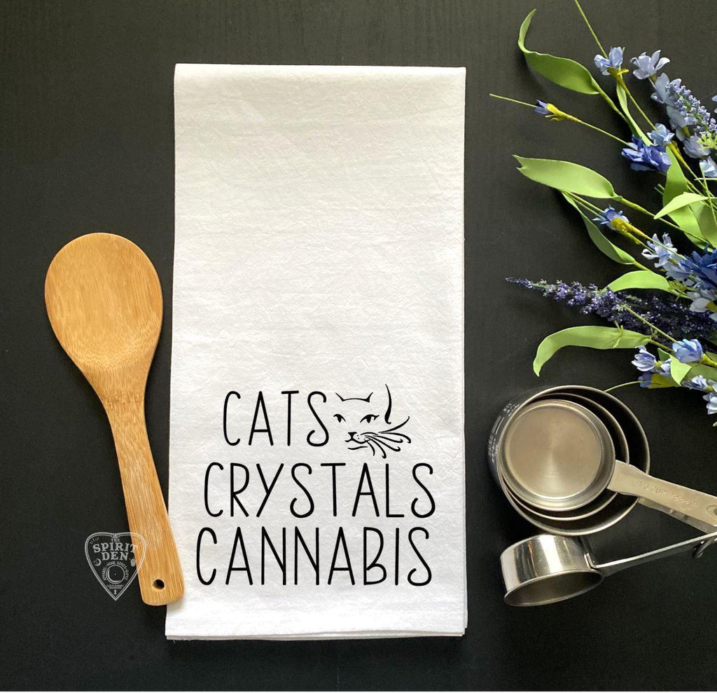 Cats Crystals Cannabis Flour Sack Kitchen Towel