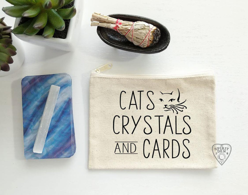 Cats Crystals And Cards Canvas Zipper Bag - The Spirit Den