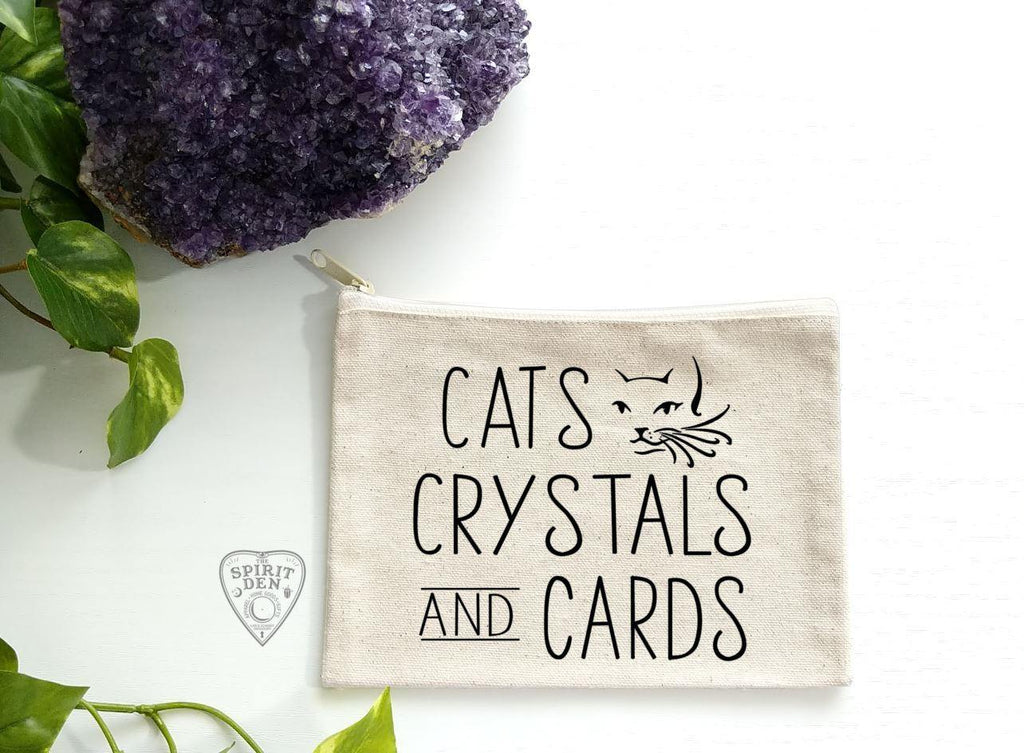 Cats Crystals And Cards Canvas Zipper Bag