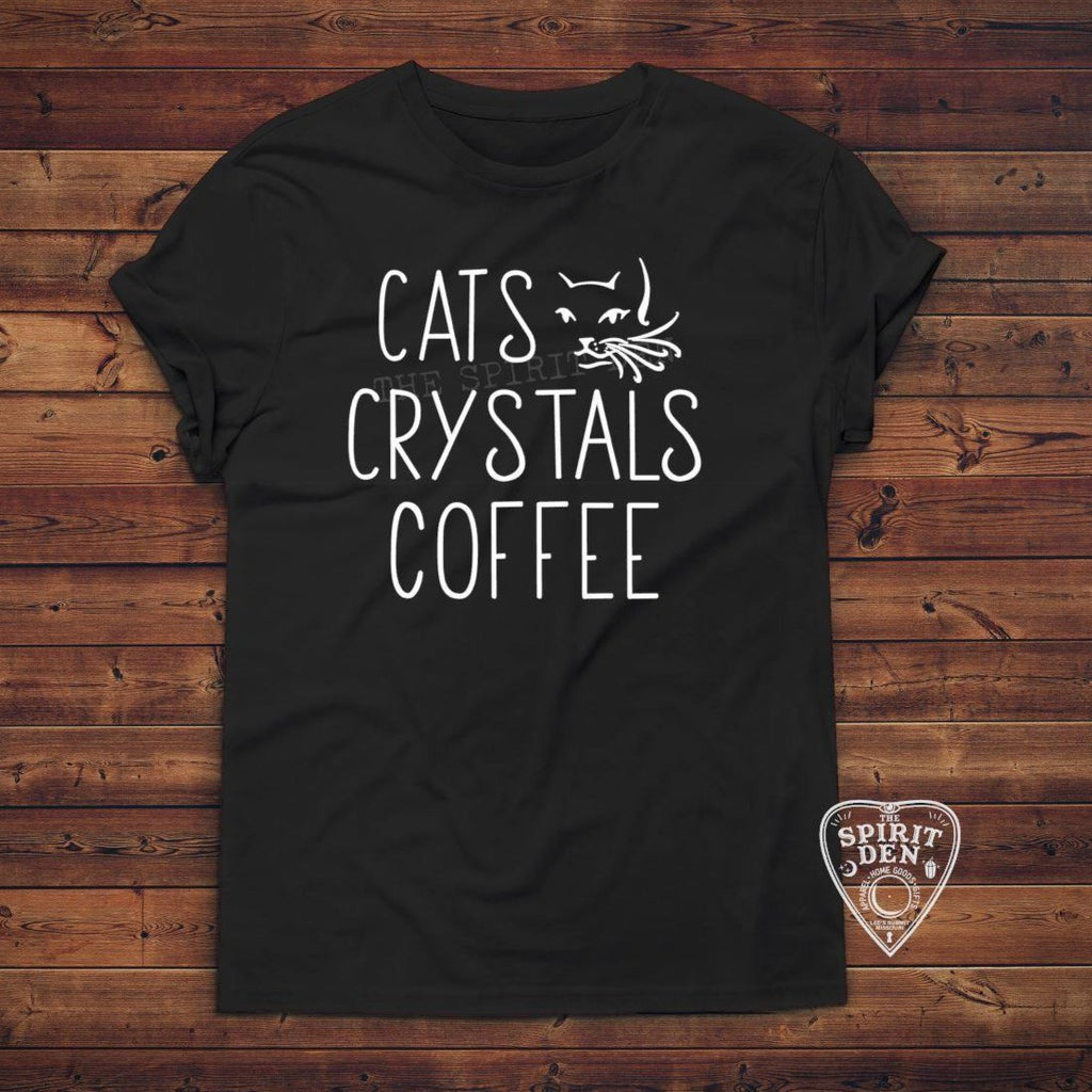 Cats Crystals Coffee T-Shirt Extended Sizes