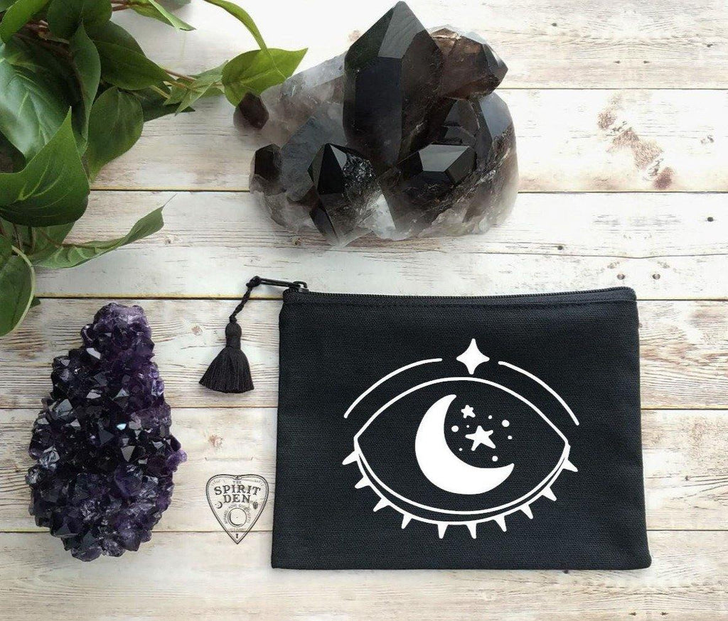 Celestial Vision Black Canvas Zipper Bag
