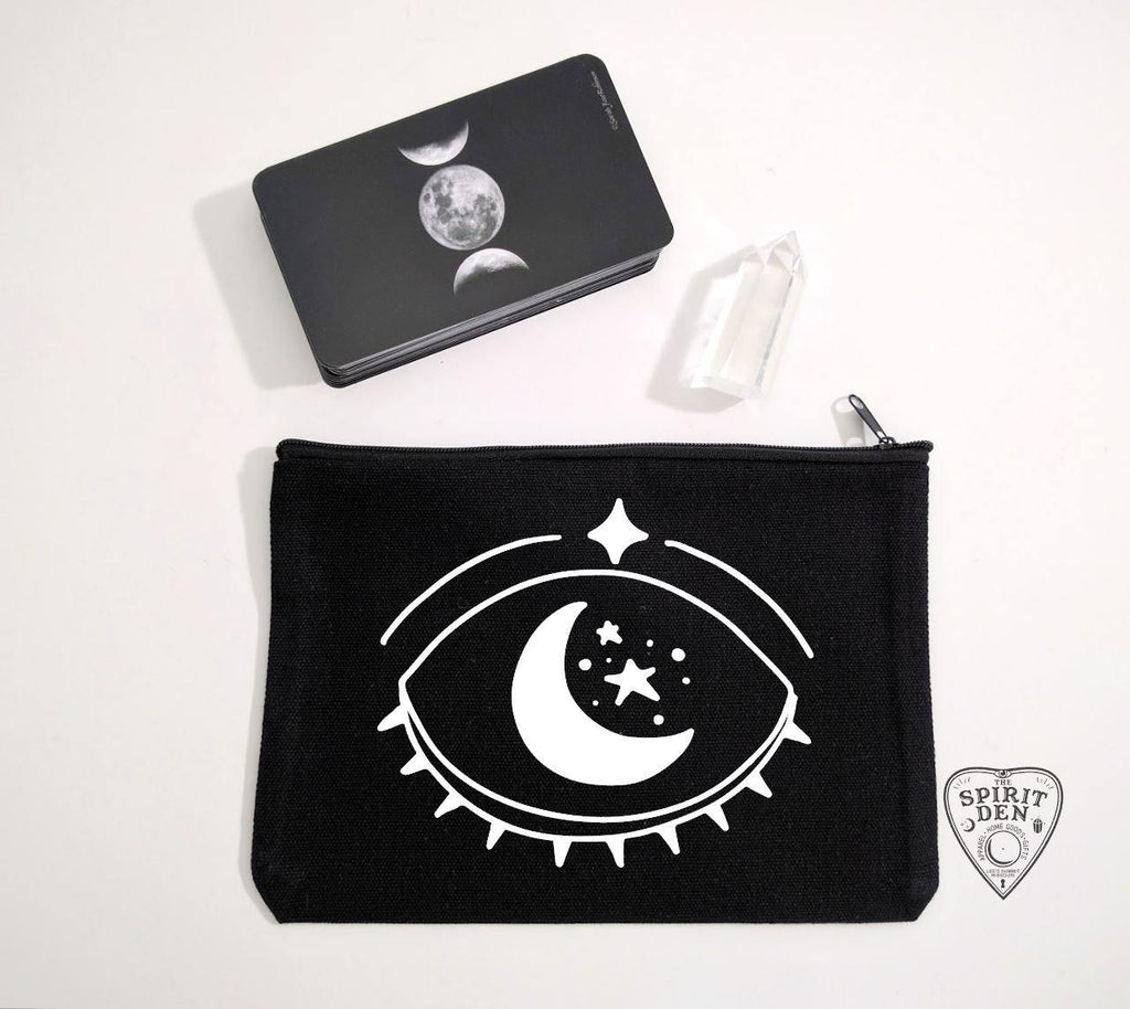 Celestial Vision Black Canvas Zipper Bag - The Spirit Den