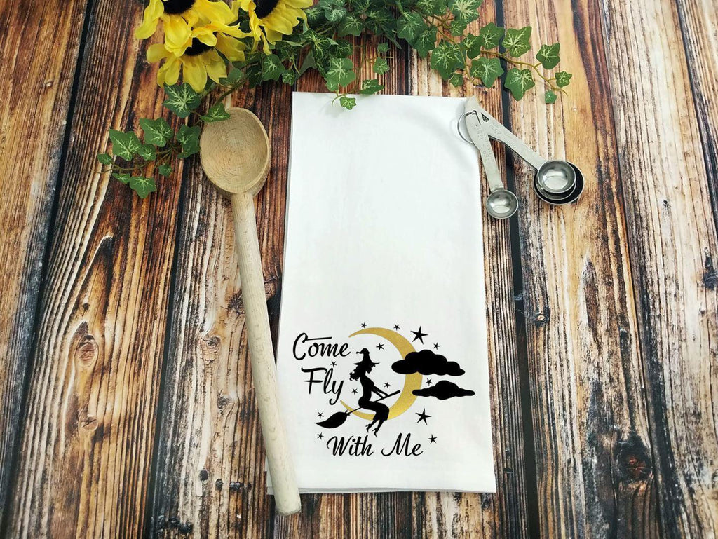 Come Fly With Me Witch Flour Sack Towel