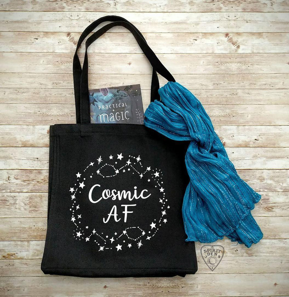 Cosmic AF Black Cotton Canvas Market Tote Bag