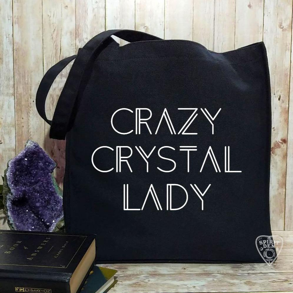Crazy Crystal Lady Black Cotton Canvas Market Tote Bag