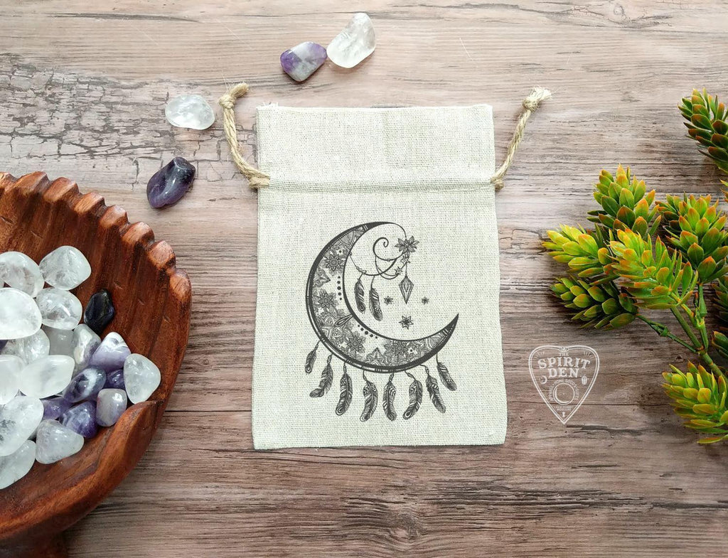 Crescent Moon Dream Catcher Cotton Linen Drawstring Bag