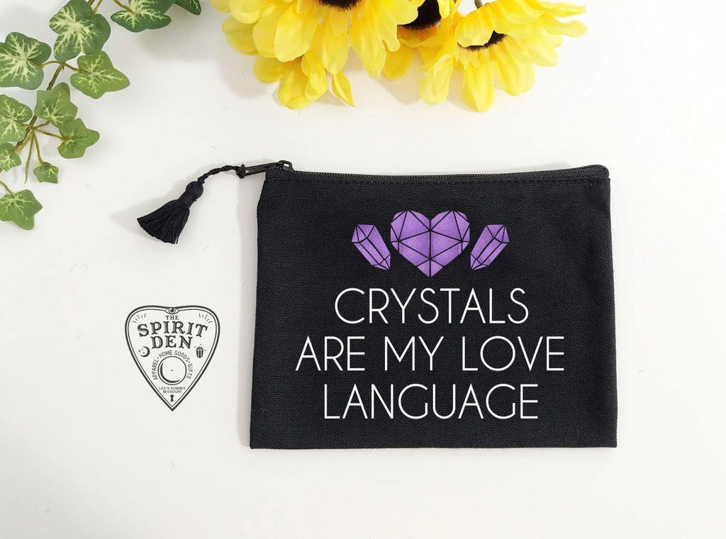 Crystals Are My Love Language Black Zipper Bag
