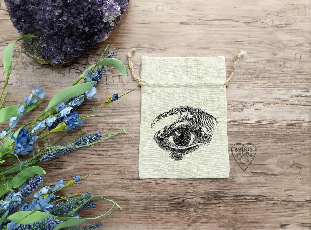 Eye of Truth Design Tarot Drawstring Cotton Linen Bag