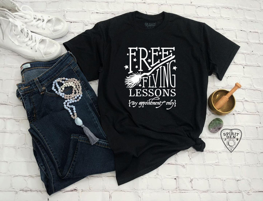 Free Flying Lessons Witch Broom T-shirt