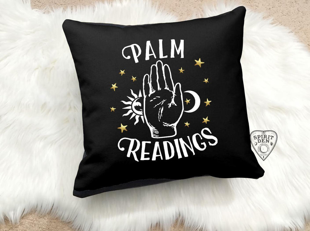 Palm Readings Gold and White Desgin Black Pillow