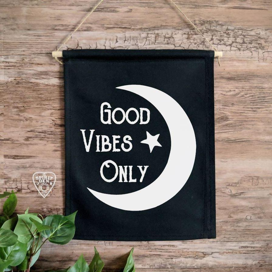 Good Vibes Only Moon Black Canvas Wall Banner
