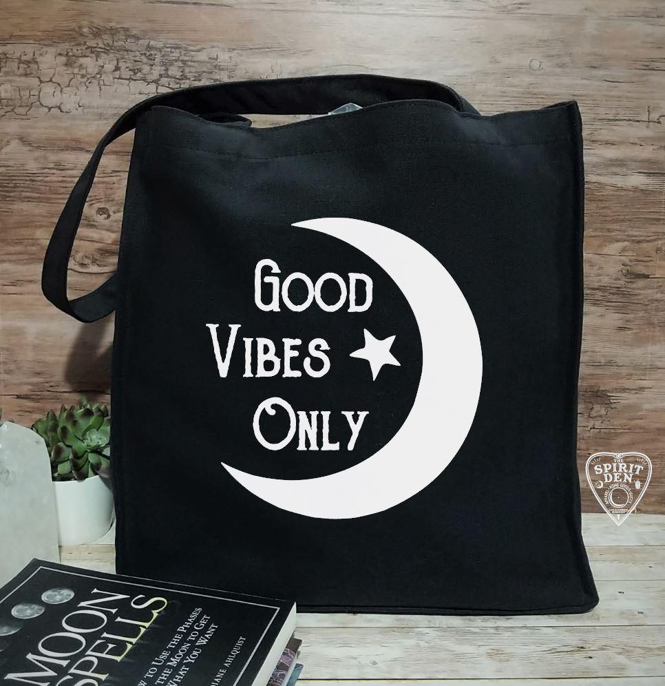 Good Vibes Only Moon Black Cotton Canvas Market Tote Bag