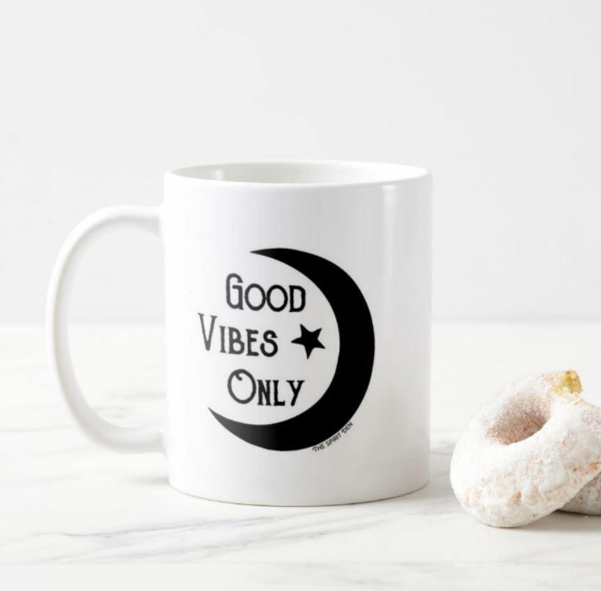 Good Vibes Only Moon White Mug - The Spirit Den