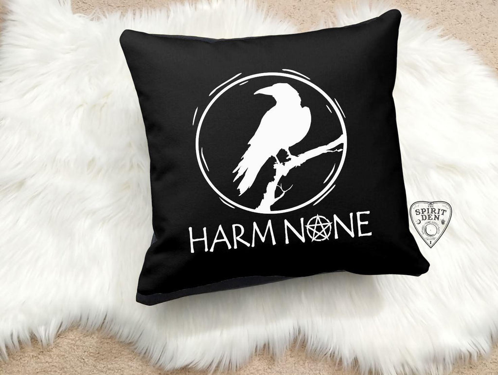 Harm None Black Cotton Pillow
