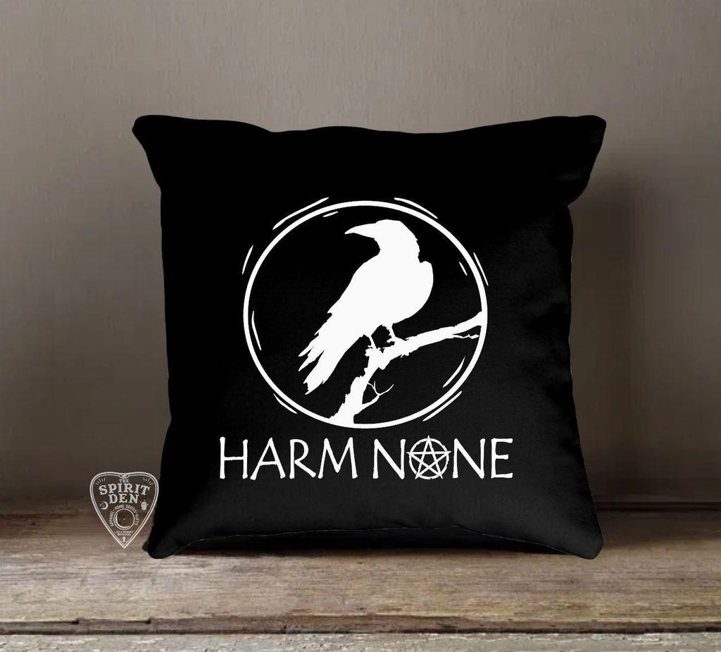Harm None Black Cotton Pillow - The Spirit Den