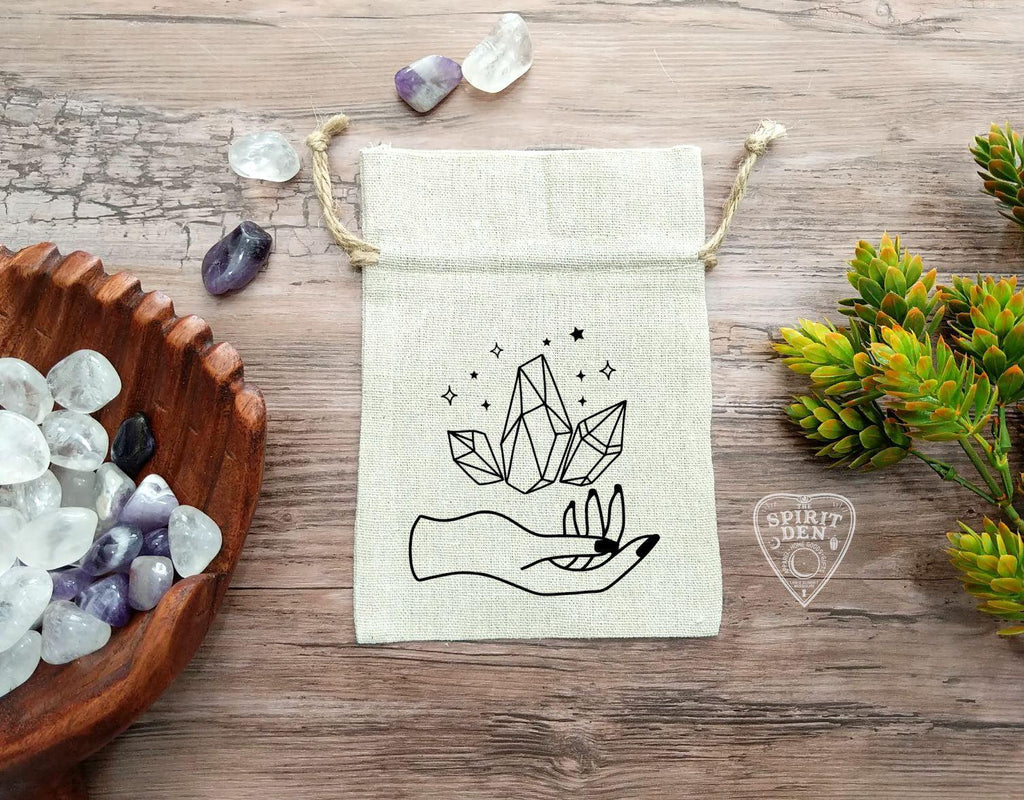 Holding Magic (Crystals) Cotton Linen Drawstring Bag