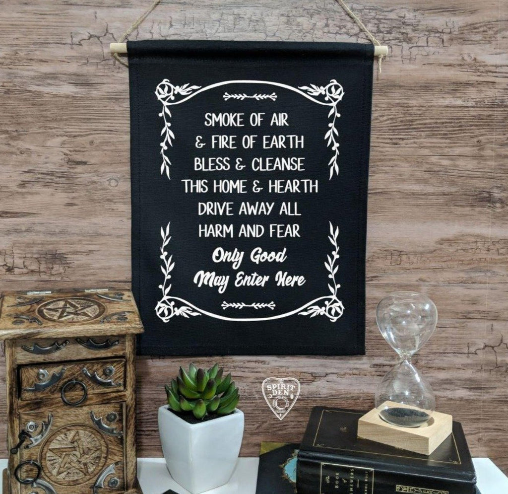 Home Blessing Only Good May Enter Here Black Cotton Canvas Wall Banner - The Spirit Den