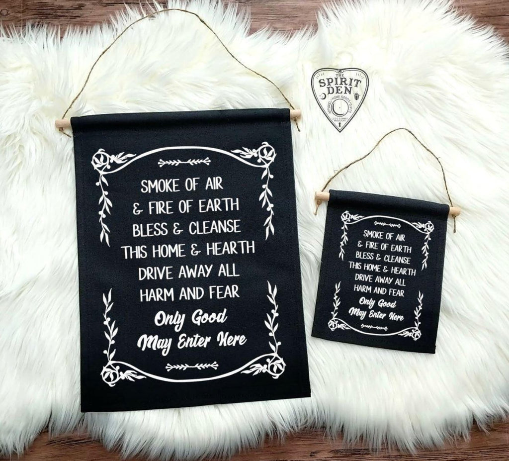Home Blessing Only Good May Enter Here Black Cotton Canvas Wall Banner
