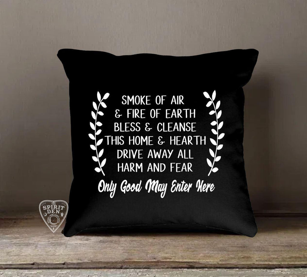 Home Blessing Only Good May Enter Here Black Cotton Pillow