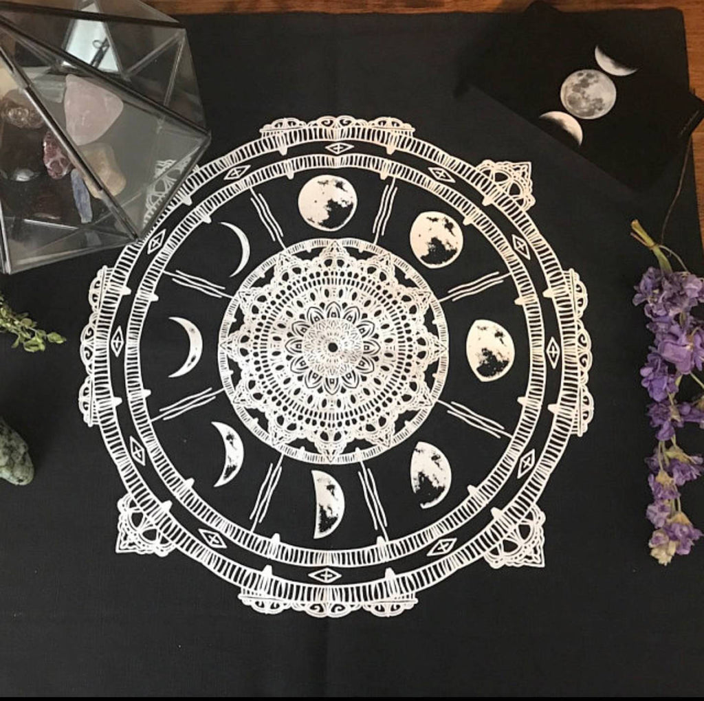 Moon Phases Compass Altar Cloth