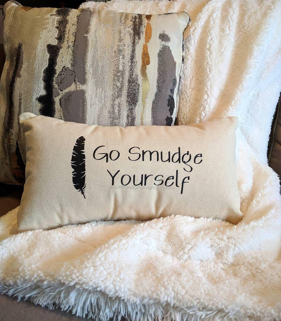 Go Smudge Yourself Cotton Canvas Lumbar Pillow
