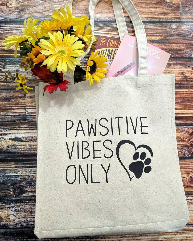 Pawsitive Vibes Only Cotton Canvas Market Bag - The Spirit Den