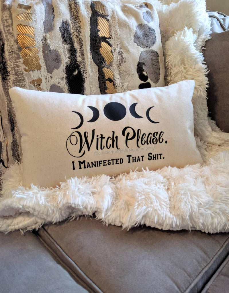 Witch Please I Manifested That Sh#! Cotton Canvas Lumbar Pillow