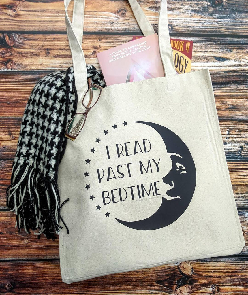 I Read Past My Bedtime Moon Cotton Canvas Market Bag - The Spirit Den