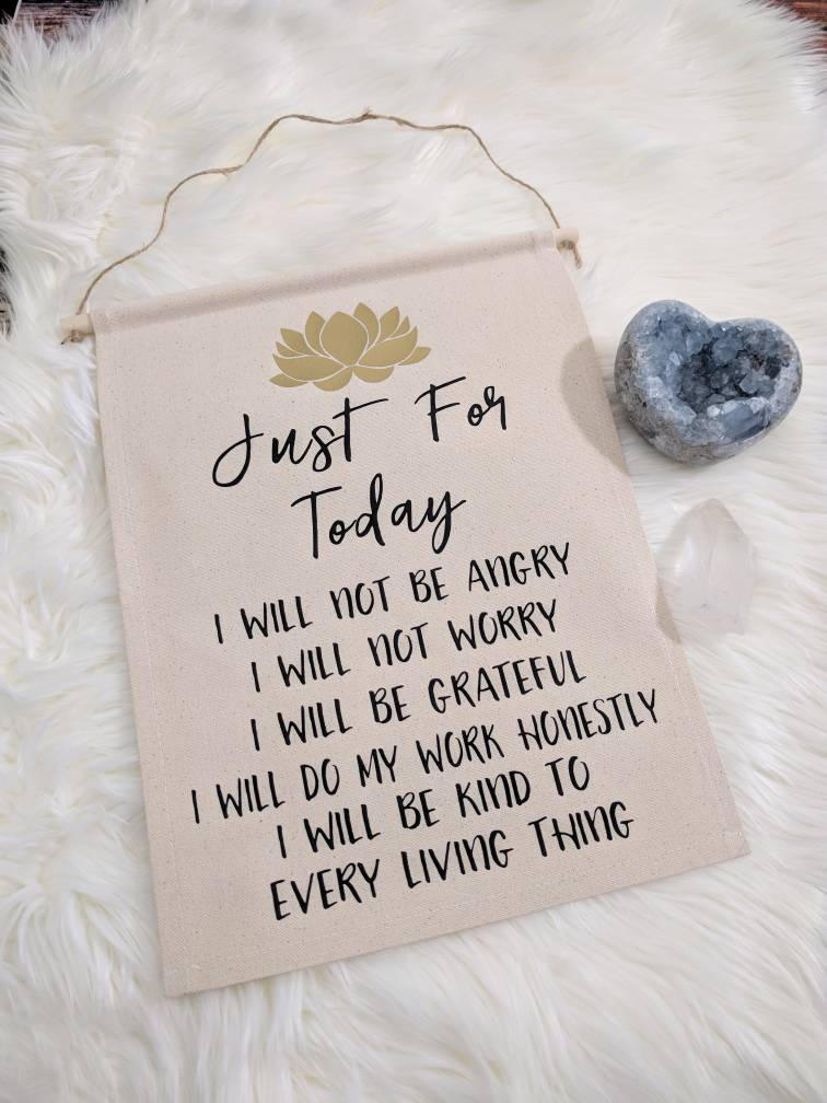 Reiki Principles Just for Today Cotton Canvas Wall Banner