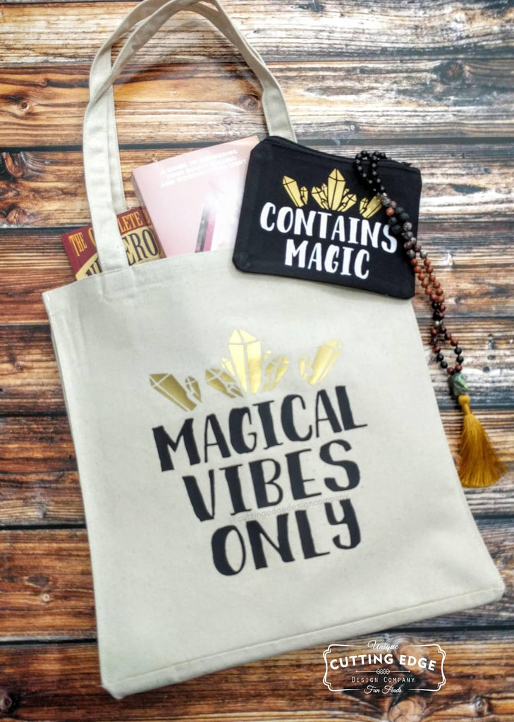 Contains Magic Crystals Black Canvas Zipper Bag