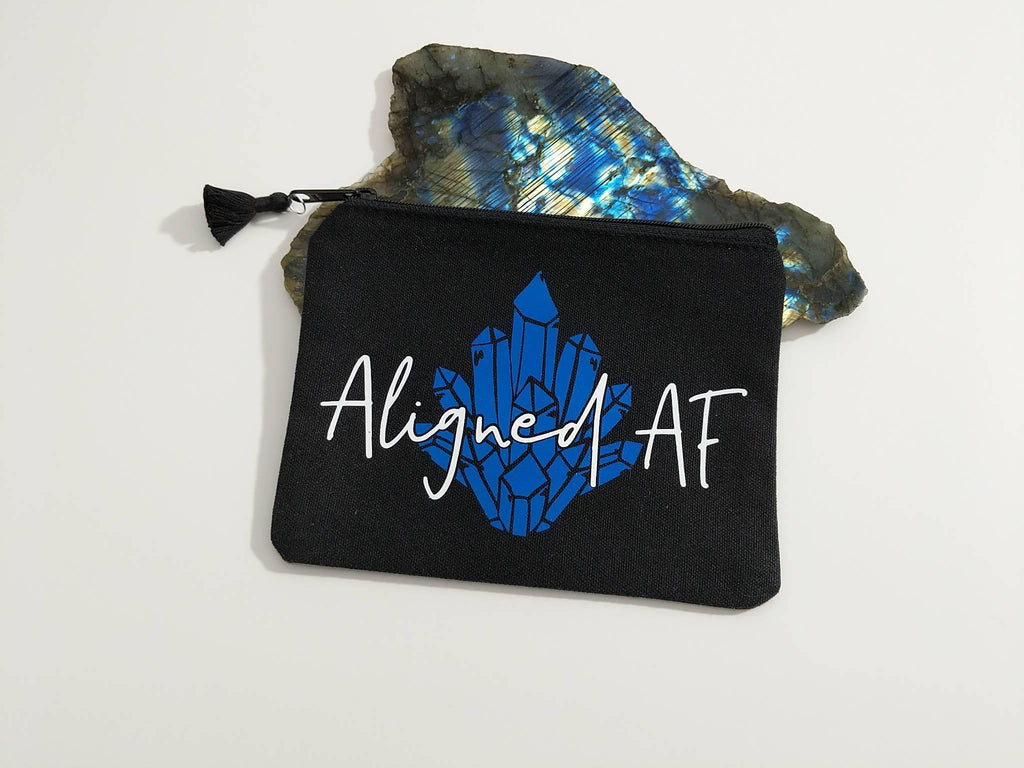 Aligned AF Black Canvas Zipper Bag