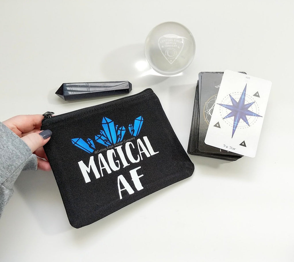 Magical AF Black Canvas Zipper Bag