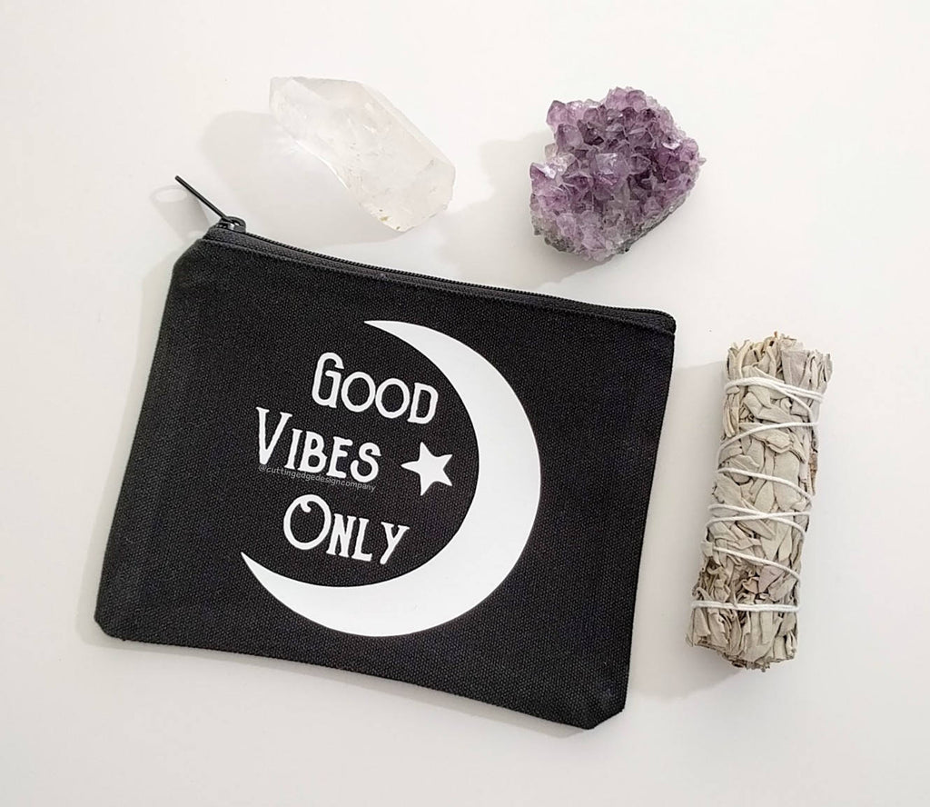 Good Vibes Only Black Canvas Zipper Bag