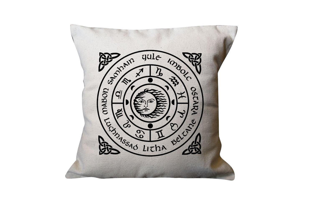The Wheel of the Year Cotton Pillow