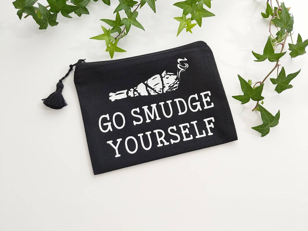 Go Smudge Yourself Sage Bundle Black Zipper Bag
