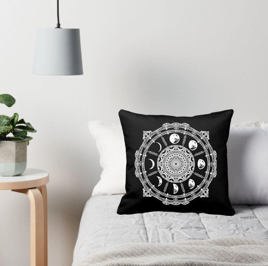 Moon Phase Compass Black Pillow