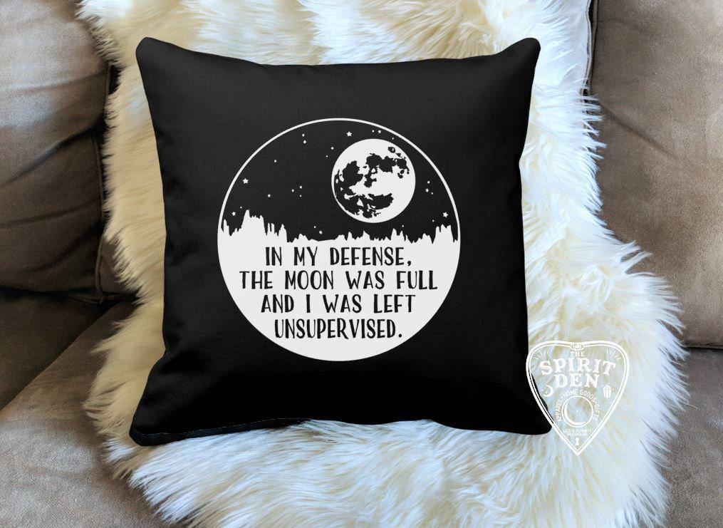 In My Defense Moon Black Cotton Pillow