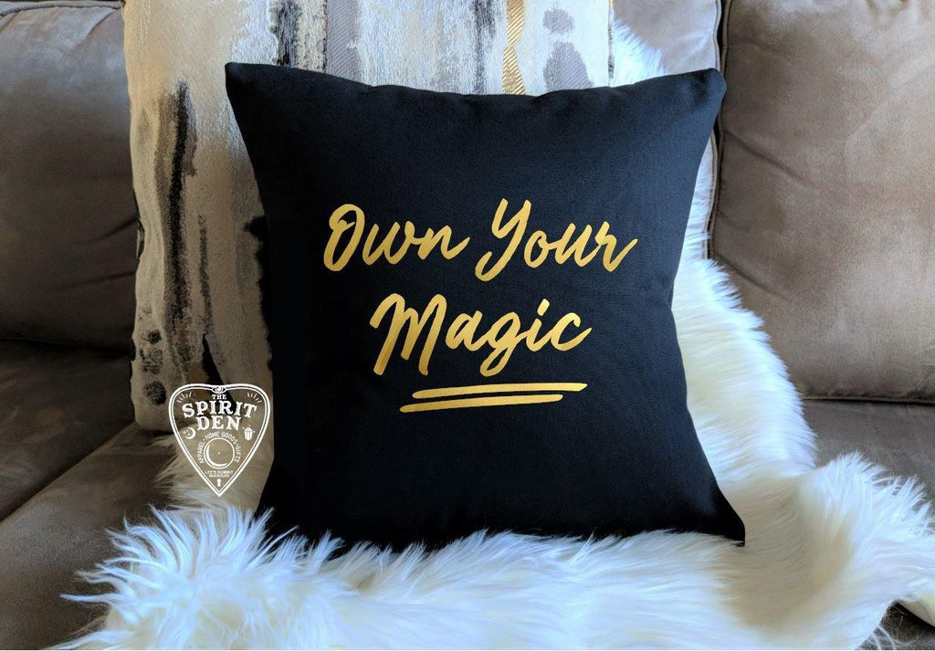 Own Your Magic Black Pillow
