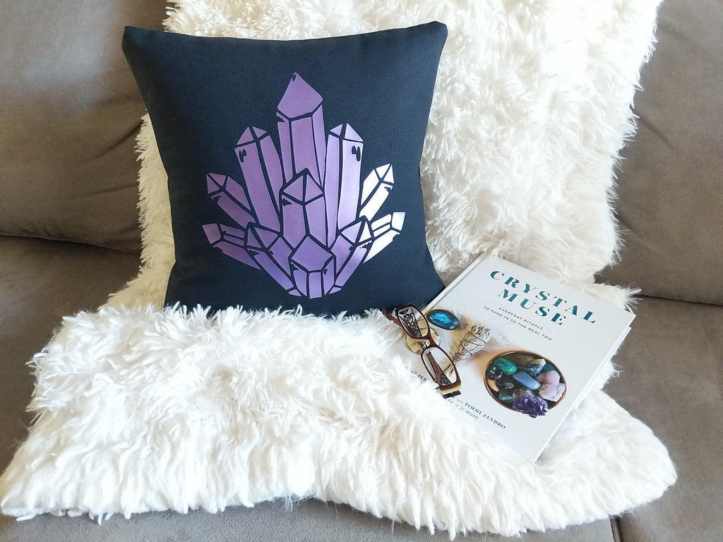 Purple Aura Quartz Black Pillow